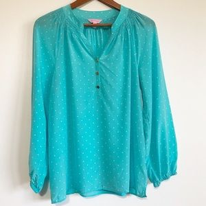 Lilly Pulitzer Elsa Polka Dot Silk Peasant Top